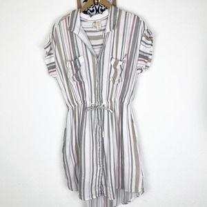 Japna Cotton Multi Stripe Mini Shirt Dress